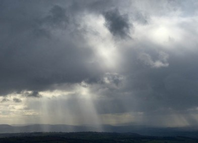 Sunbeams and shower clouds