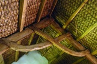 A woven ceiling