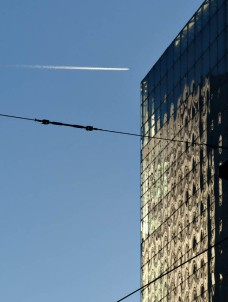 Contrail and glass