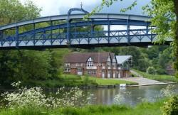 Bridge and boathouse