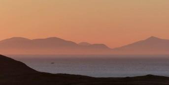 Sunset sky and Harris hills