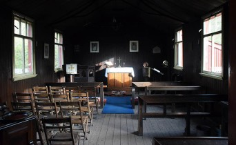 Inside the tin chapel