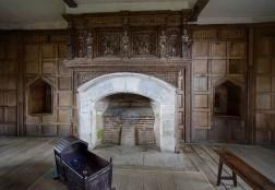 A grand fireplace...