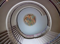 Staircase and Eric Gill ceiling