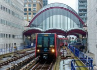 DLR: train leaves Canary Wharf, heading for Heron Quays