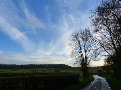 Winter sky over Wenlock Edge