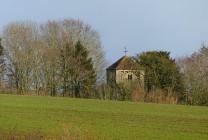 Across the fields - St Leonard's church at Linley