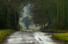 Along the straight lane