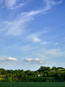 Blue sky over Linley Brook